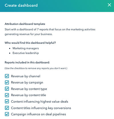 Standardberichte von dem Attribution Dashboard
