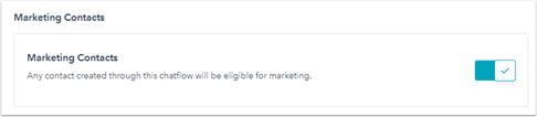 HubSpot, Optionen, Marketing Kontakte via Chat