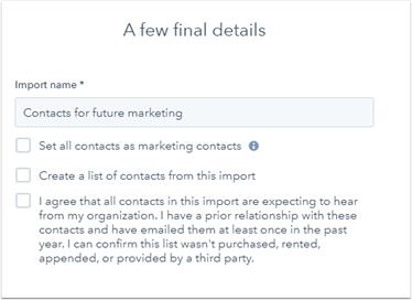 HubSpot, Import Tool für Marketing Kontakte