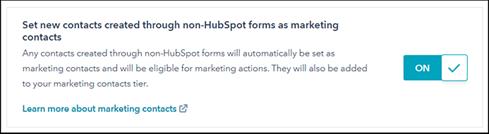 HubSpot Einstellungen für Marketing Kontakte über kein HubSpot Formular