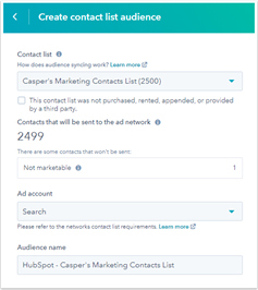 HubSpot, gezielte Anzeigen bei Nicht-Marketing-Kontakten