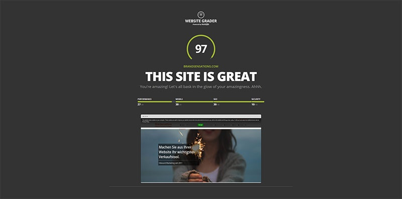 Website Grader Test Brandsensations
